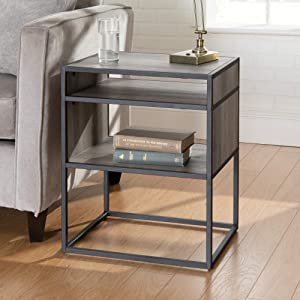 "WE Furniture AZF20JERGW Modern Side End Table with Storage for Living Room Bedroom, 20"", Grey Wash"