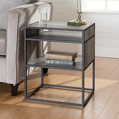 Walker Edison Furniture Company Industrial Modern Metal Frame Wood Rectangle Side Accent Set Living Room Storage Shelf End Table
