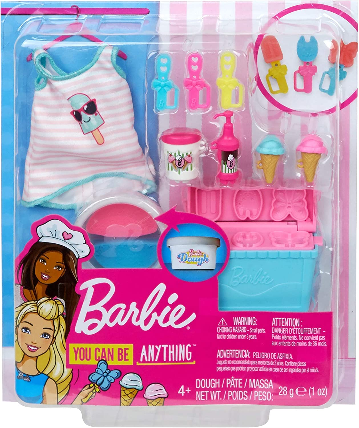 Barbie Cooking /& Baking Accessory Pack with Ice Cream-Themed Pieces Ages 4 Years Old /& Up Cooler Mold /& Container of Molded Dough Multi Including Tank Top for Doll