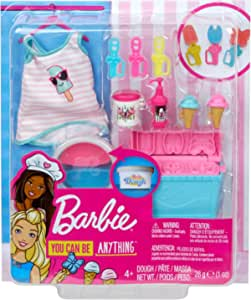Barbie Cooking /& Baking Accessory Pack with Ice Cream-Themed Pieces Including Ta