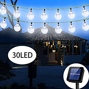 Irecey Solar String Light Outdoor 20ft 30LED Crystal Ball Waterproof Globe String Lights Solar Powered Fairy Lighting for Garden Home Landscape Holiday Decorations(White)