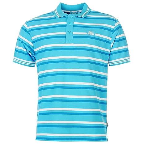 Lonsdale diseño de rayas Polo para hombre Cian/blanco/azul parte ...