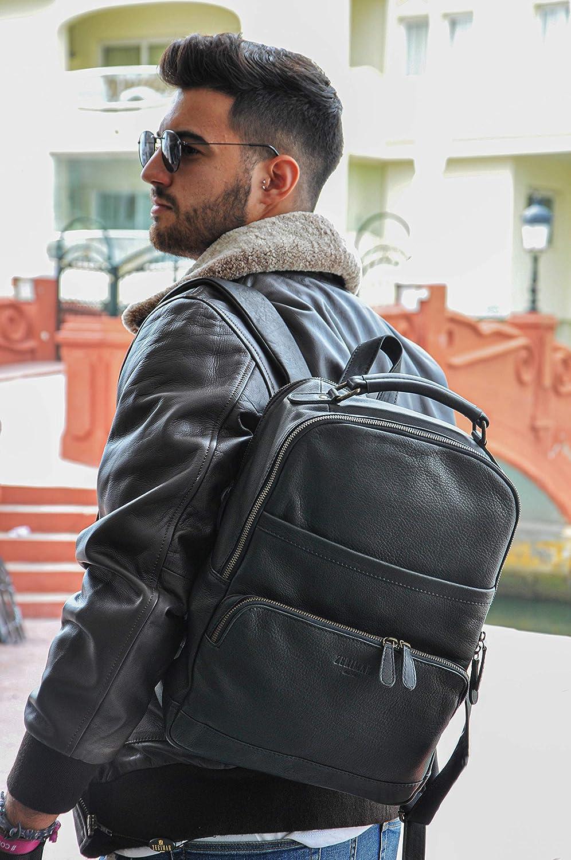 Zerimar Rucksack Leder | Schultasche Leder | Rucksack Elegant Leder | Lederrucksack | Rucksäcke Leder Vintage Schwarz