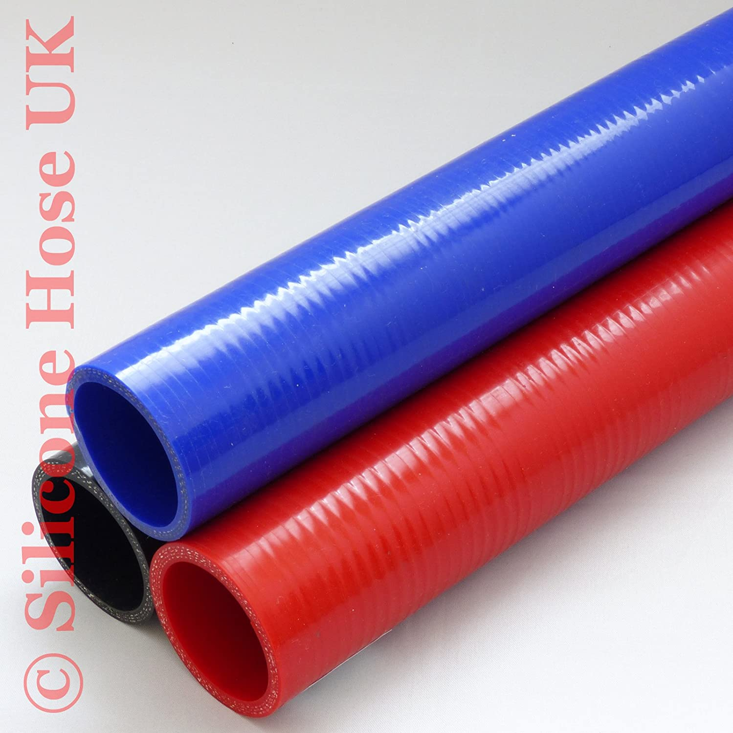 57mm Black Straight Reinforced Silicone Heater Coolant or Turbo Inlet Hose 500mm piece ID