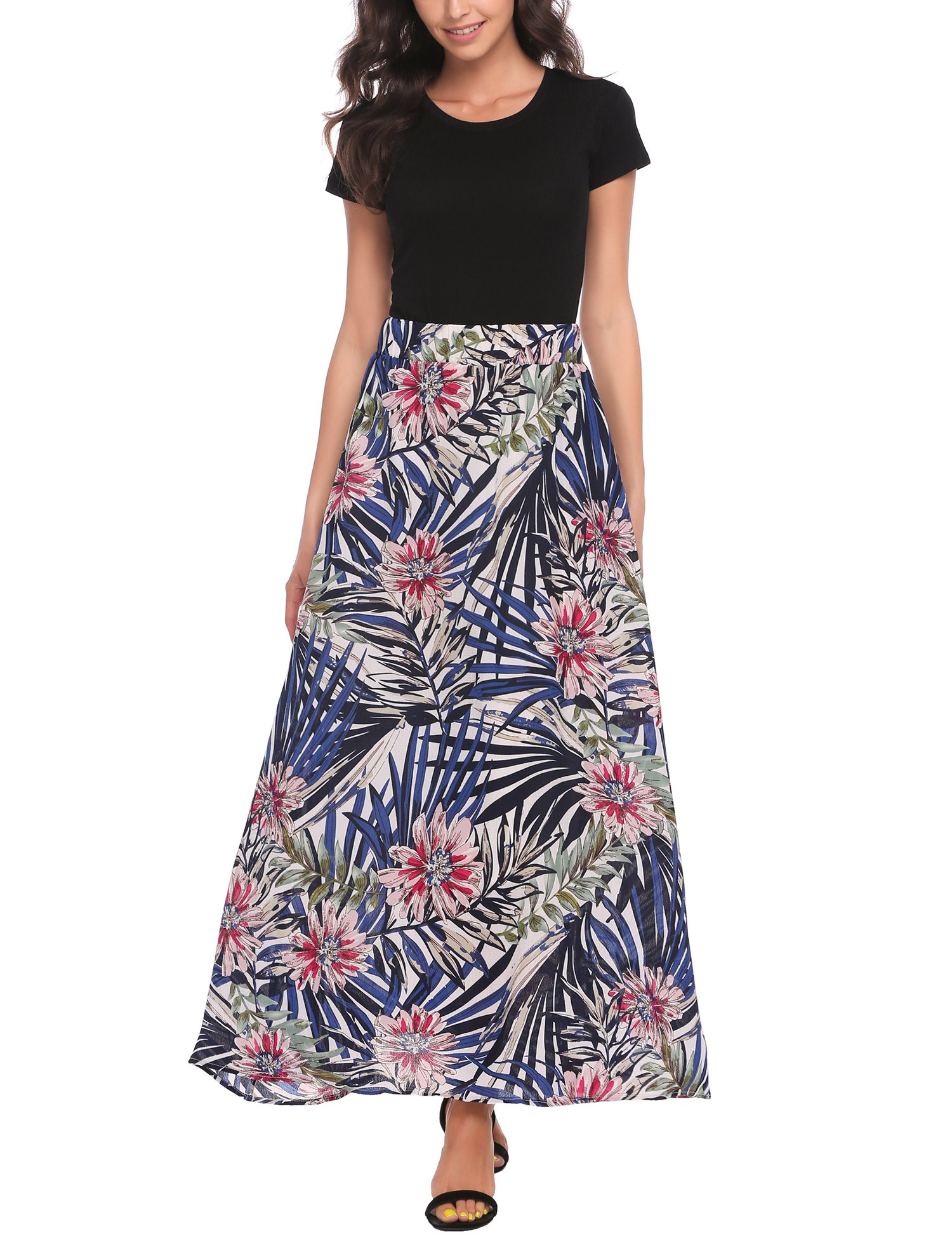 Zeagoo Women African Boho Floral Print High Waist Beach Party Bohemia Long Maxi Skirt by Zeagoo (Image #4)