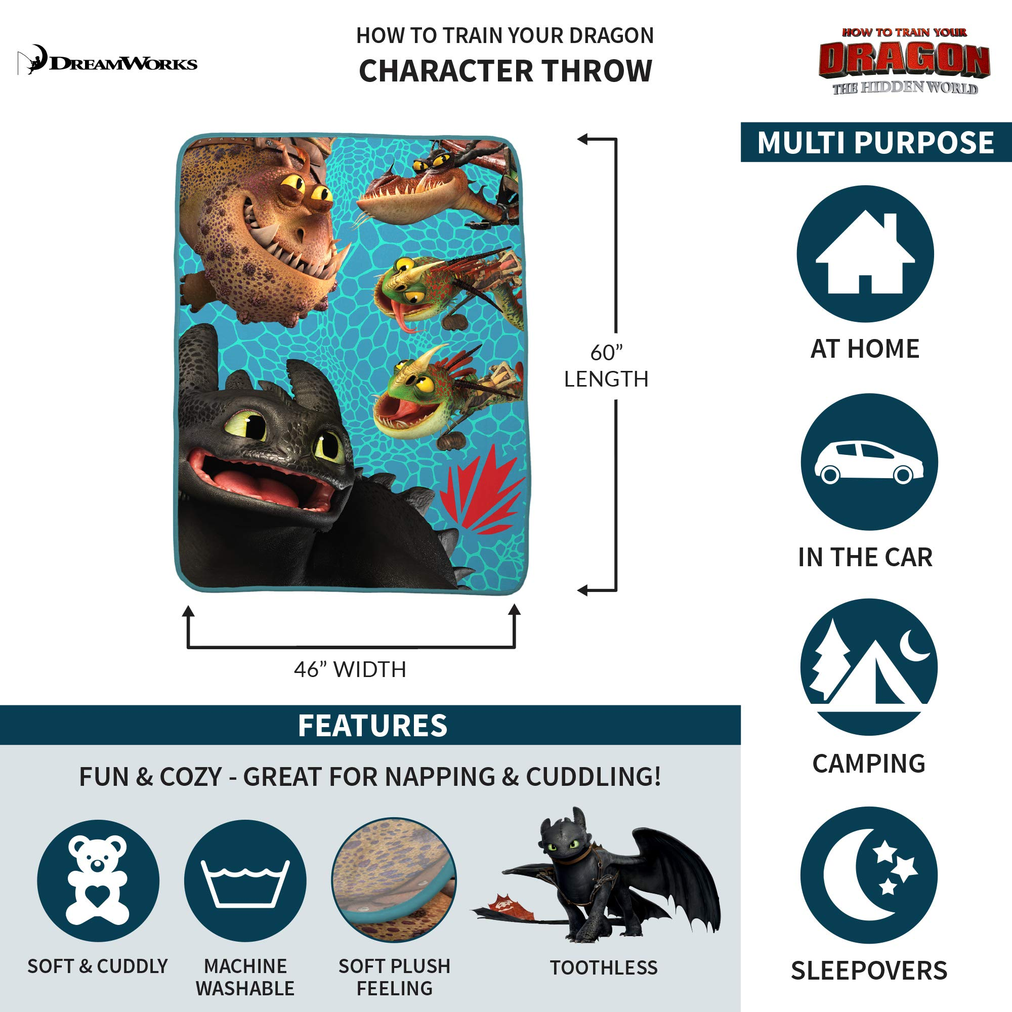 Franco Kids Bedding Super Soft Plush Throw, 46'' x 60'', How to How to Train Your Dragon by Franco (Image #2)