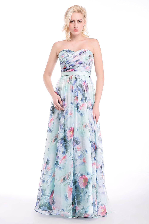 Dressystar Long Sweetheart Bridesmaid Prom Dress Floral Print with Sash
