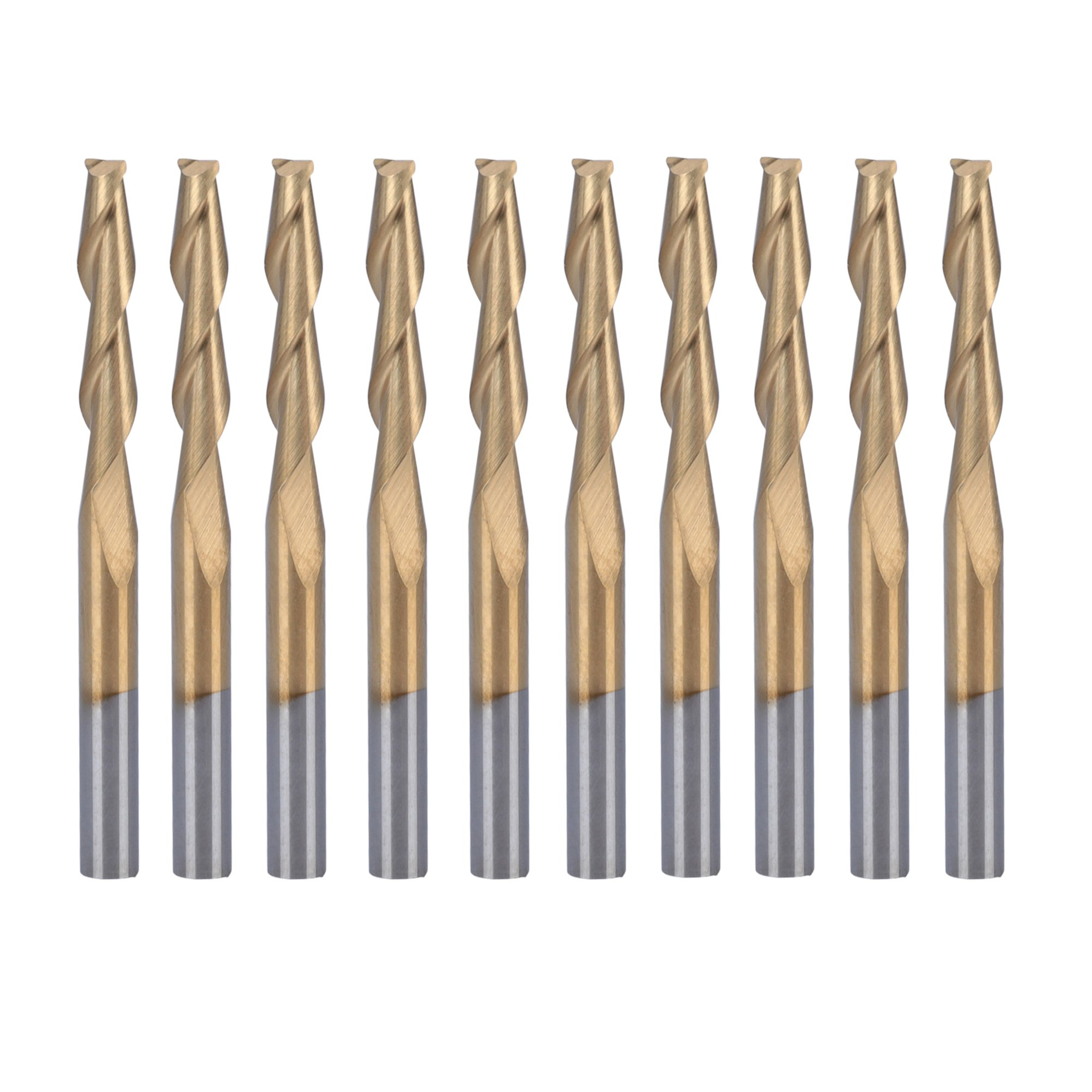 HQMaster 10 Pack 1/8''(3.175mm) Shank Dia. Titanium Coated End Mill Spiral Router Bits Milling Cutter 2-Flute CNC Upcut Cutting Engraving Bit Tungsten Steel Tool Set 38.5mm OAL (3.175 x 17 x 38.5 mm)