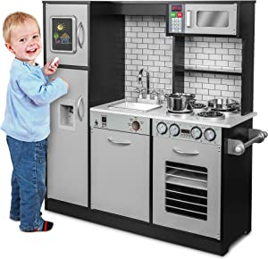 Jumbl Pretend Wooden Play Kitchen Toy Set, Realistic Design with Interactive Battery Operated Sound Elements, Microwave, Ice Machine, Chalkboard, Stovetop, Fridge, Oven, Sink & Accessories Included