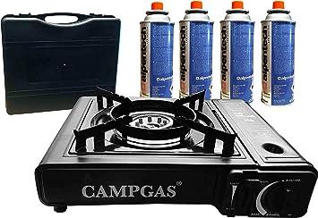 Hornillo de gas + maletín + 4 cartuchos de gas.