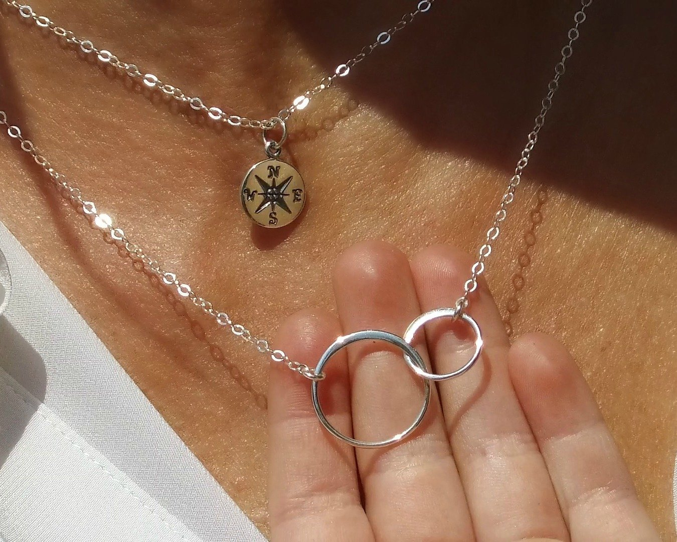 EFYTAL Godmother Gifts from Godchild Sterling Silver Interlocking Circle Necklace Proposal Gift for Girl Baptism by EFYTAL (Image #4)