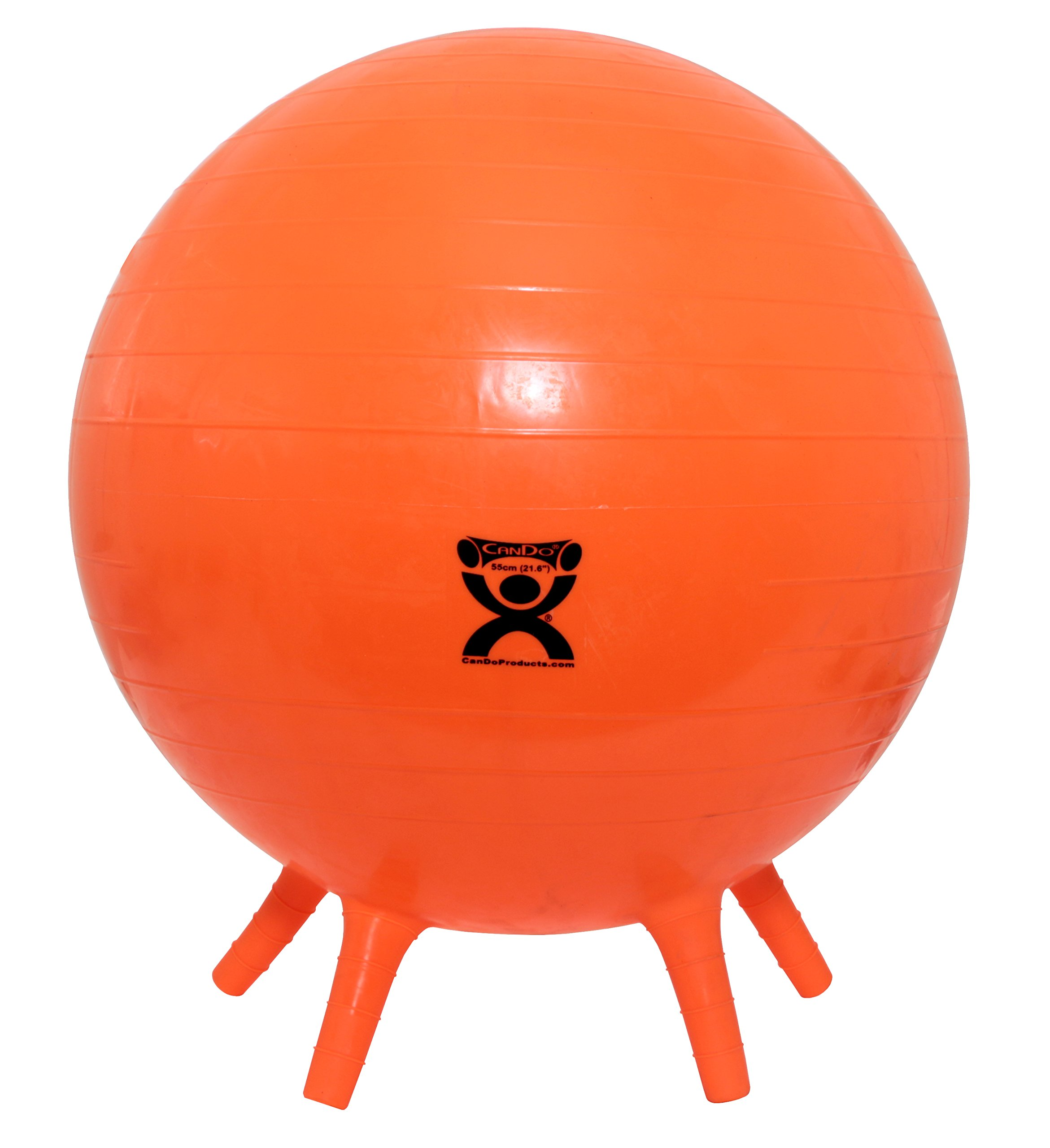 CanDo NonSlip Inflatable Exercise Ball with Stability Feet, Orange, 21.6''