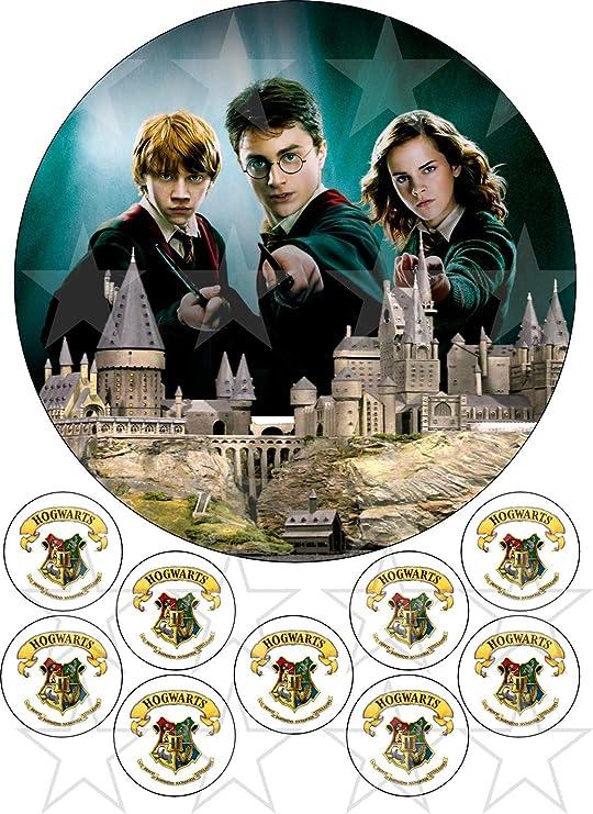 Harry Potter Ron y hermione comestible redondo pastel topper impreso