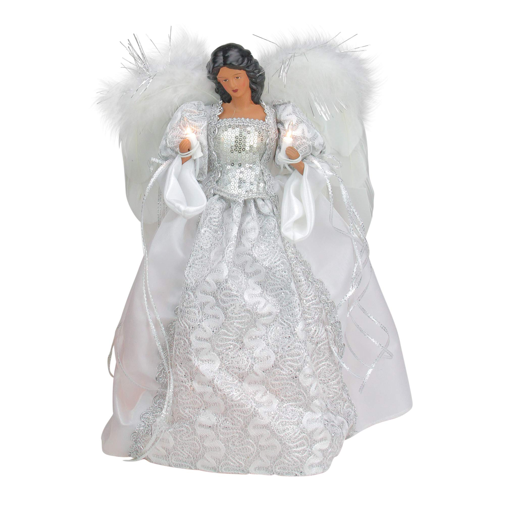 "Roman 14.5"" White and Silver Elegant Feathered Tree Topper"