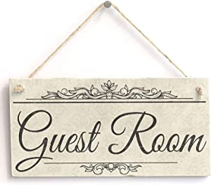 "Hty Guest Room - Rustic Sign Plaque 10""x5""(25x12.5 cm)"