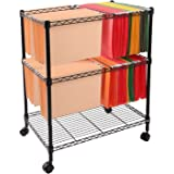 Finnhomy Sturdy 2-Tier Metal Rolling File Cart for Letter Size and Legal Size Folder, Black