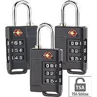 PEARL Gepäckschlösser: 3er-Set TSA-Reisekoffer- & Gepäck-Schlösser mit 3-stelligem Zahlencode (Kofferschloss TSA)