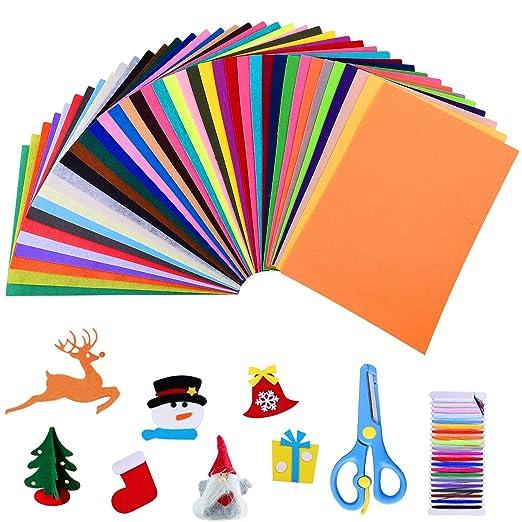 40 Colores Diferentes 20 * 30 cm Fieltro y Cojín Manualidades Tela de Costura Bricolaje Tela de Fieltro Fieltro en Hojas (Estilo1-20 * 30 cm)