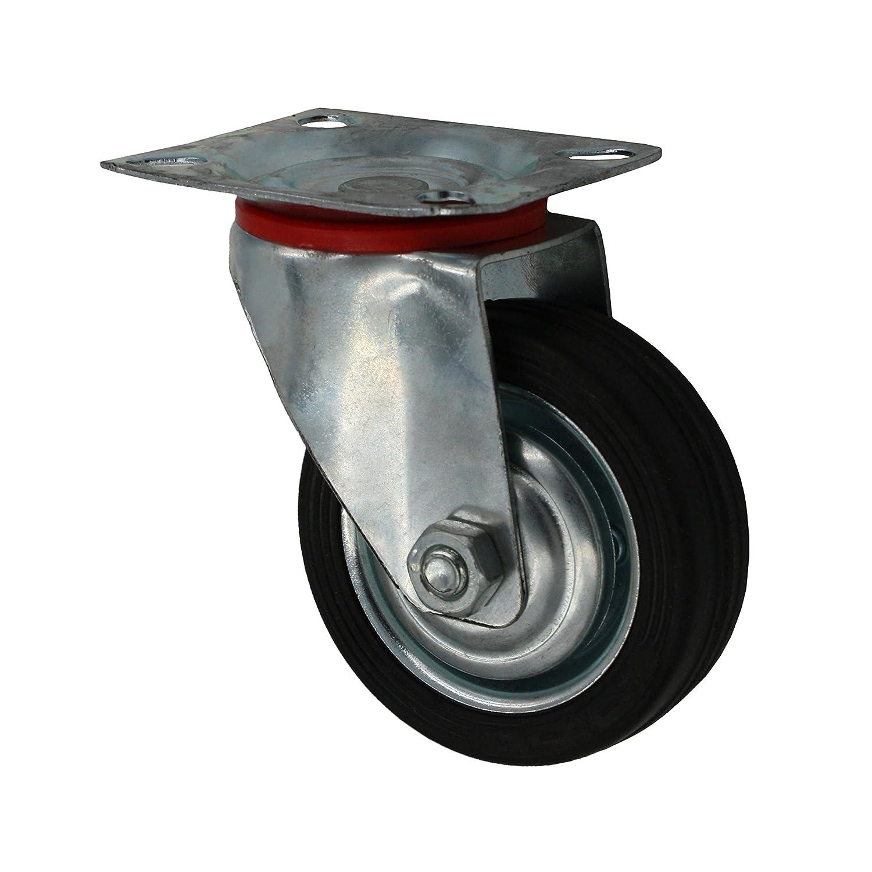 12 St/ück 75 mm Vollgummirolle Transportrolle als Lenkrolle