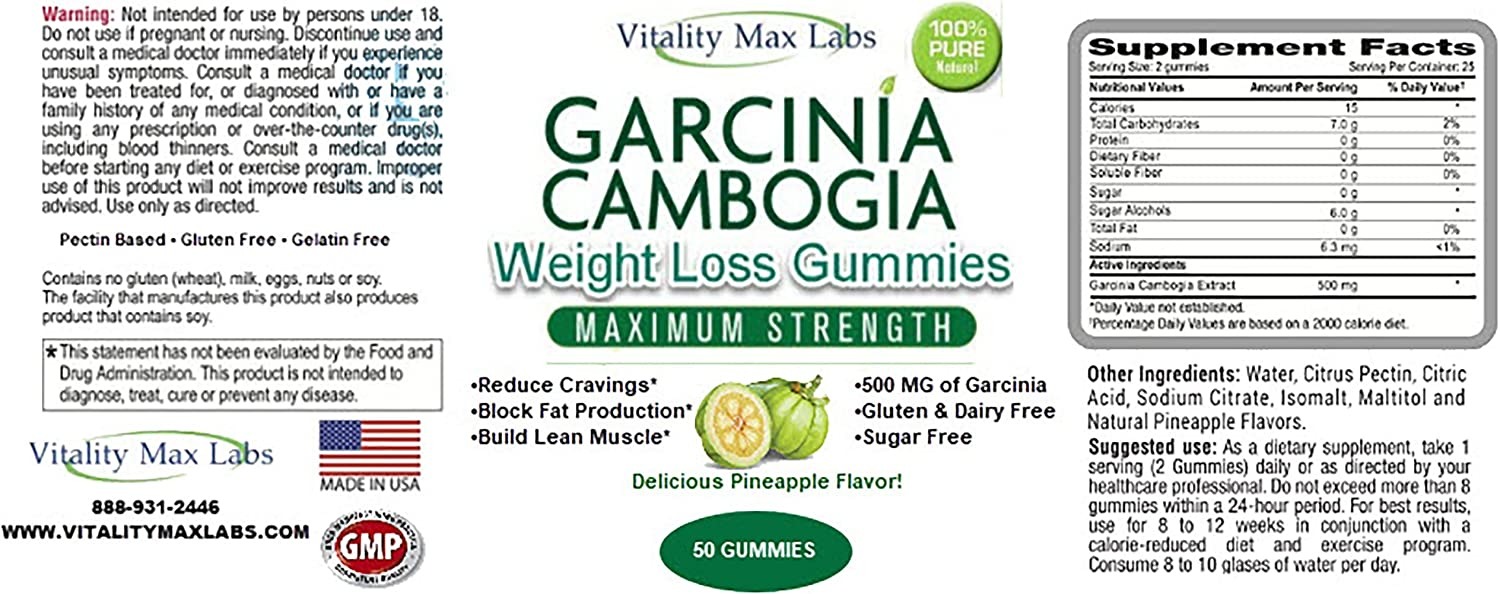Amazon Com Vitality Max Labs Garcinia Cambogia Weight Loss