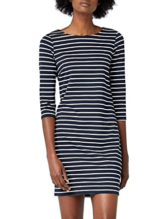 6459f618228ce4 Vila Damen Kleid Vitinny New Dress, Blau (Total Eclipse Stripes: Snow White)
