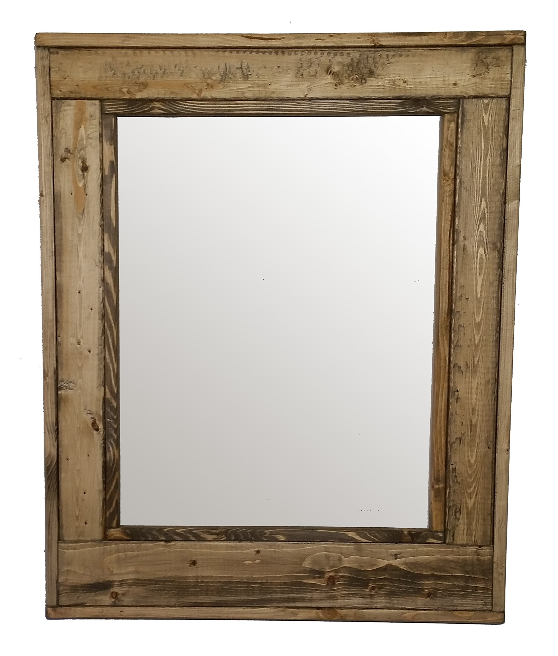 Herringbone 24 x 30 Vertical Framed Mirror Stained in Driftwood - Reclaimed Wood Mirror - Large Wall Mirror - Rustic Modern Home - Home Decor - Mirror - Housewares by Renewed Decor