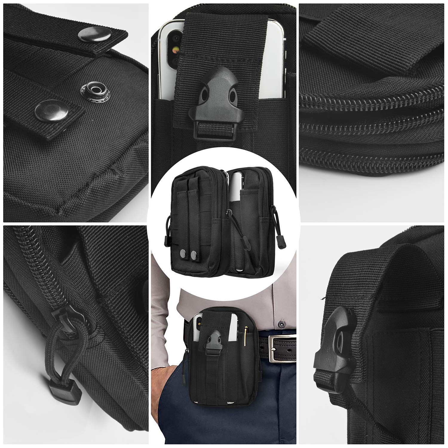 Pixel Moto Z Force Play WATACHE Tactical Molle Pouch EDC Men Belt Waist Bag Utility Gadget Gear Tool Organizer Pocket with Cell Phone Holster Holder for for iPhone Xs Max Xr,Galaxy S10 Plus Note 10