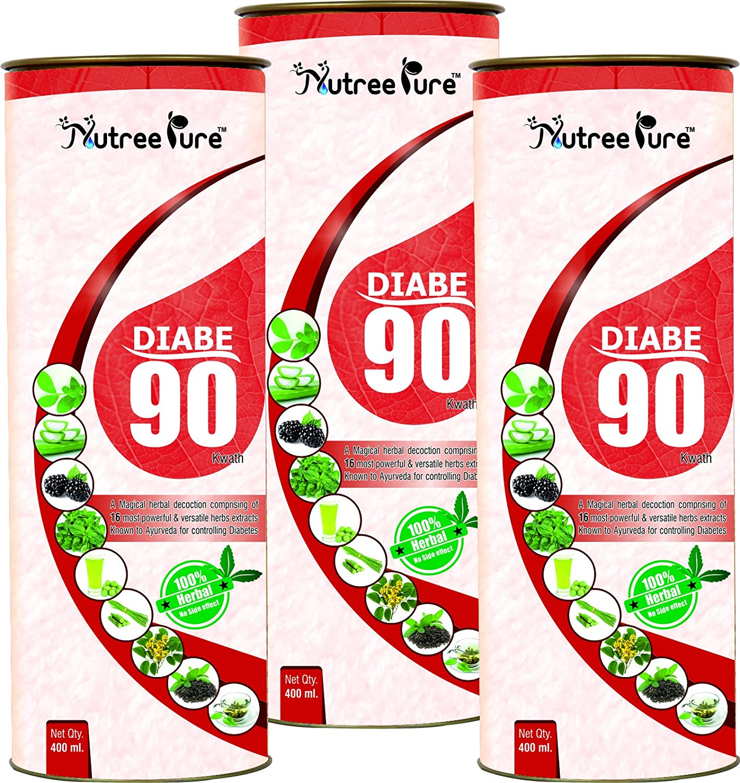 Nutree Pure Diabe-90 Kwath for Diabetes Care Ayurvedic Herbal Medicine  Supplements - 400 ml (Pack of 3)