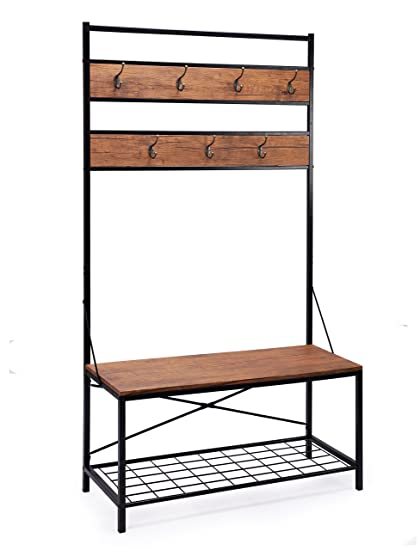 FIVEGIVEN Entryway Coat Rack Bench With Shoe Storage Rustic Wood And Metal  In Black/Brown