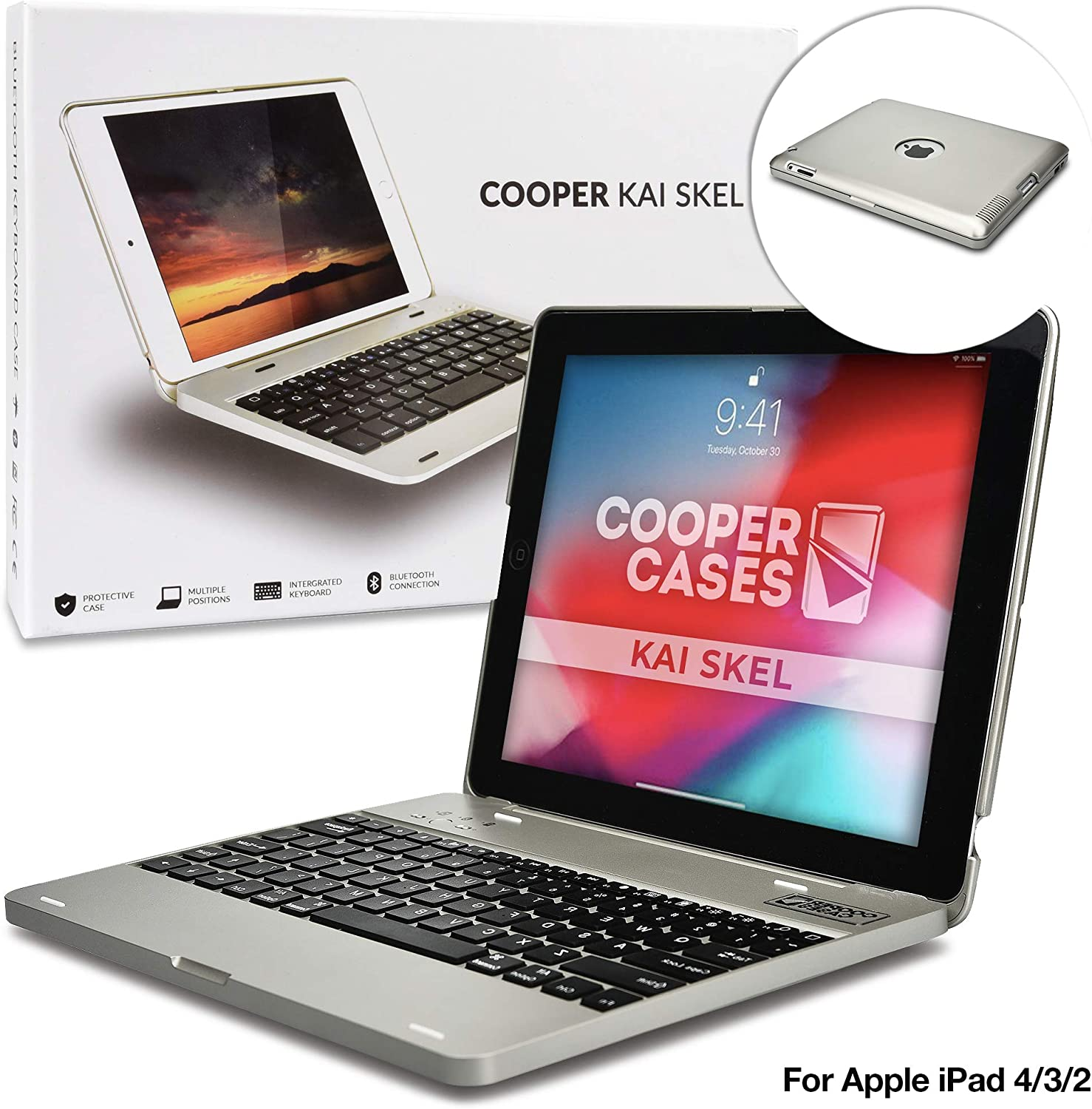 Cooper Kai SKEL P1 [Bluetooth Wireless Keyboard] Case for iPad 4, iPad 3, iPad 2 | Clamshell Cover, 2800mAh Power Bank, 60HR Battery (Silver)