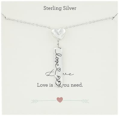 Amazon Sterling Silver Heart Andlove Engraved Bar Charm Y