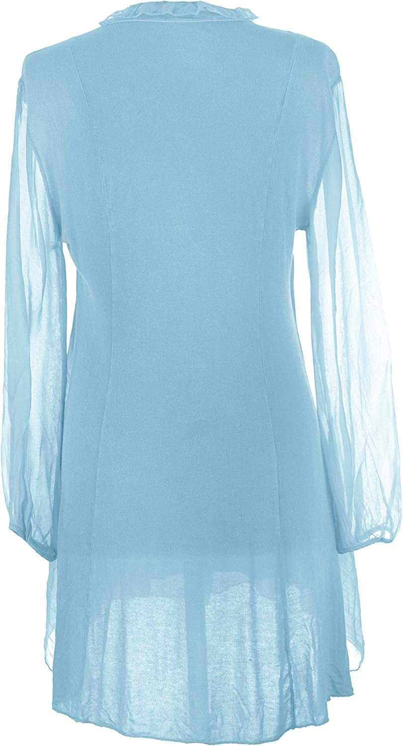 Texture Ladies Women Italian Lagenlook Long Sleeve 3 Button Frill Tassel V Neck Silk Tunic One Size Turquoise