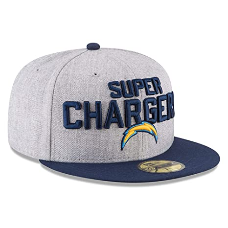 uk availability 4b2e9 3920b New Era Los Angeles Chargers Heather Gray Navy 2018 NFL Draft Official  On-Stage