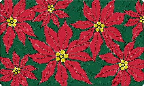 Toland Home Garden Pretty Poinsettias 18 x 30 Inch Decorative Christmas Floor Mat Flower Collage Doormat