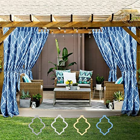 Moroccan Print Outdoor Curtains For Patio Gazebo, Lattice Quatrefoil  Printed Water Repellent Tab Top