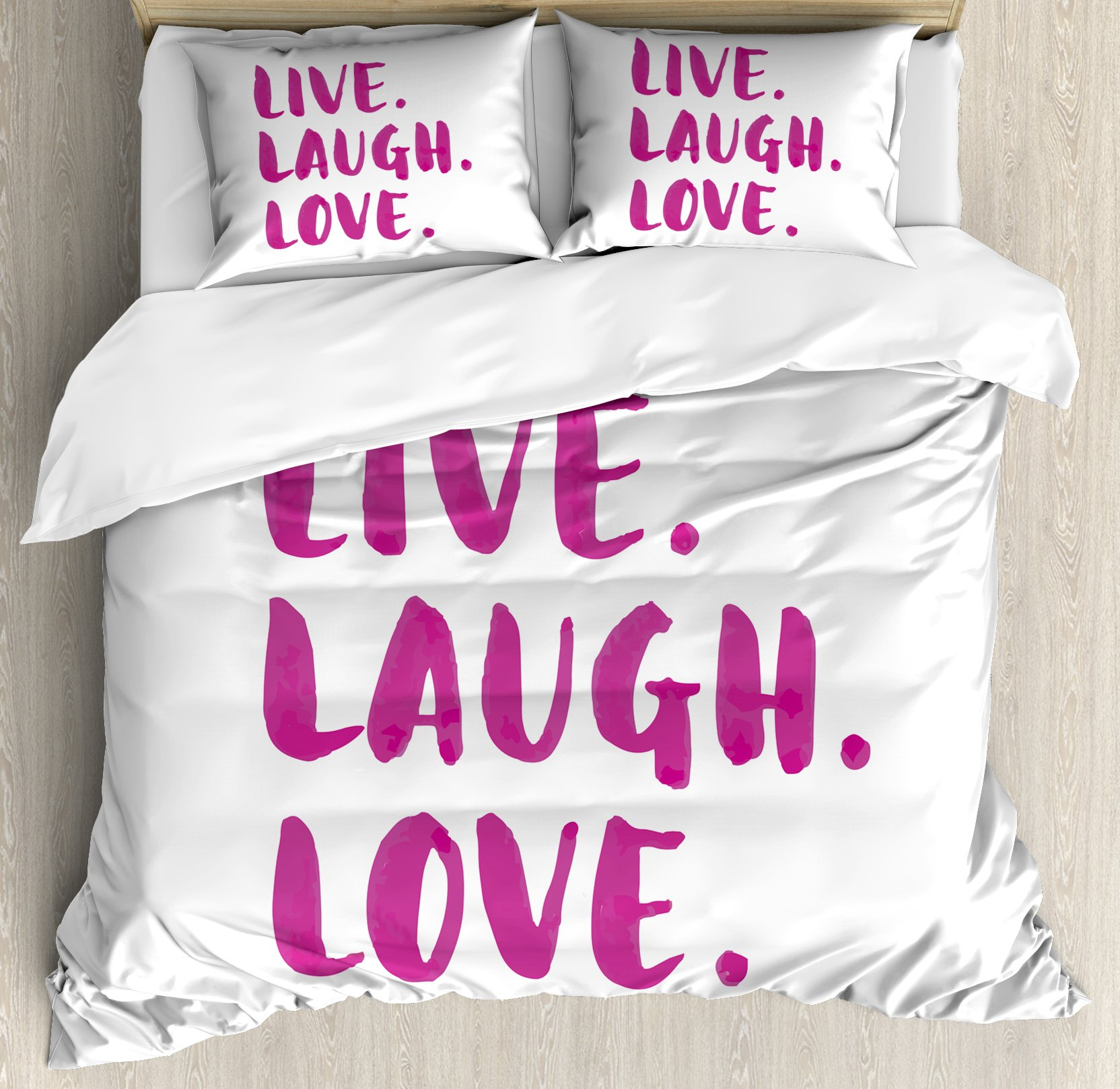 Live Laugh Love Duvet Cover Set Queen Size by Ambesonne, Positive Live Laugh Love Quote with Brush Stroke Effect Hand Lettering, Decorative 3 Piece Bedding Set with 2 Pillow Shams, Purple White