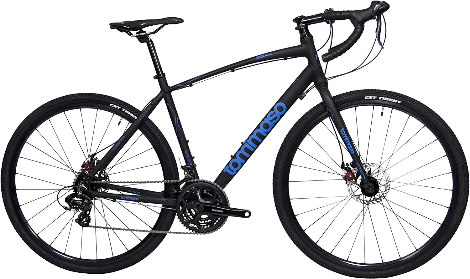 Tommaso Siena – Shimano Tourney Gravel Adventure Bike with Disc Brakes, Extra Wide Tires, Perfect for Road Or Dirt Touring, Matte Black