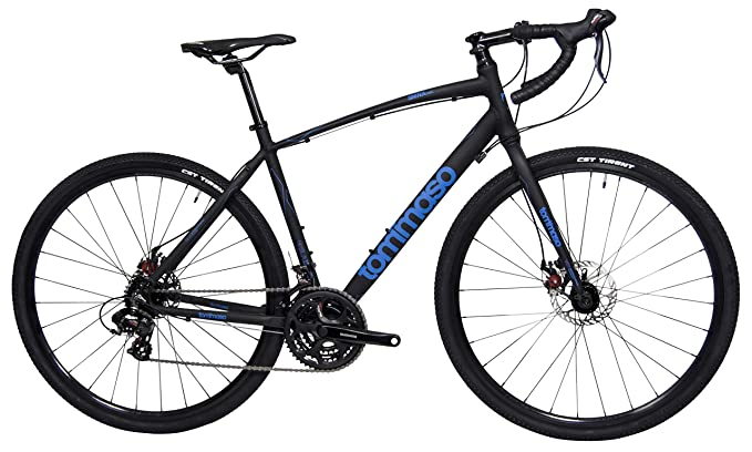 Tommaso Siena - Shimano Tourney Gravel Adventure Bike with Disc Brakes, Extra Wide Tires, Perfect for Road Or Dirt Touring, Matte Black - Medium best gravel bikes