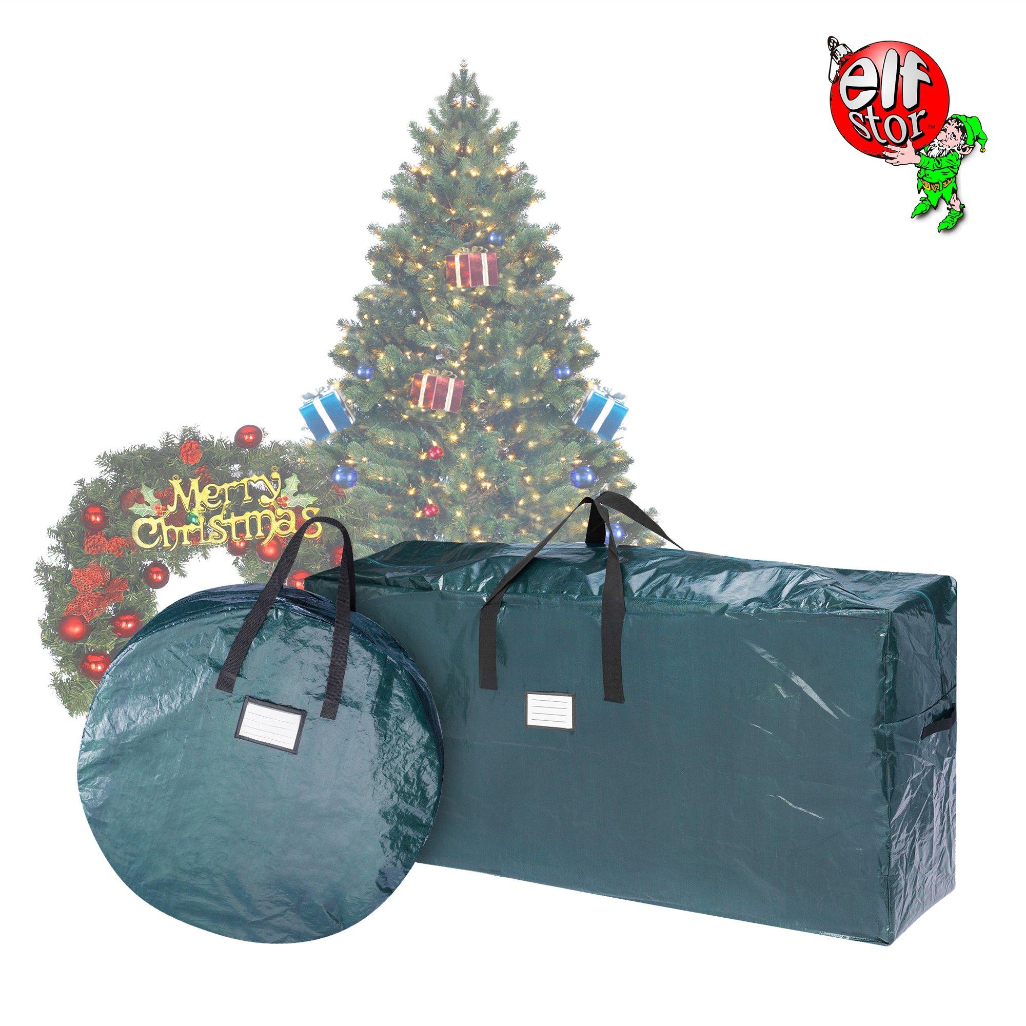 Elf Stor 83-DT5522 Combo | Christmas Tree Storage 30 inch Wreath Bag, Green