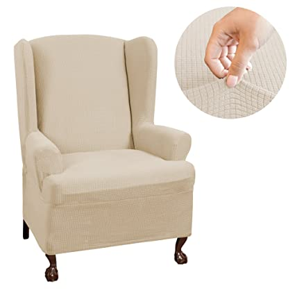 Incroyable MAYTEX Reeves Stretch 1   Piece T U2013 Cushion Wingback Chair With Arms  Furniture Cover Slipcover