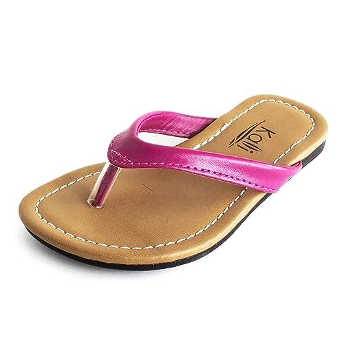 d26d62791c3 Girls Basic Summer Flip-Flops Hot Pink 7 M US Toddler