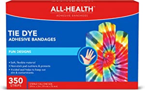 All Health Tie Dye Adhesive Bandages.75 in x 3 in, 350 ct | Fun Colorful Designs for Minor Cuts & Scrapes, First Aid, and Wound Care