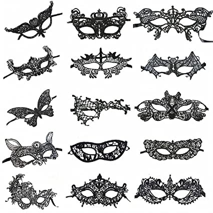 1a799e430ec26 Mohary Women's Sexy Venetian Style Party Black Lace Masquerade Masks Pack  of 15