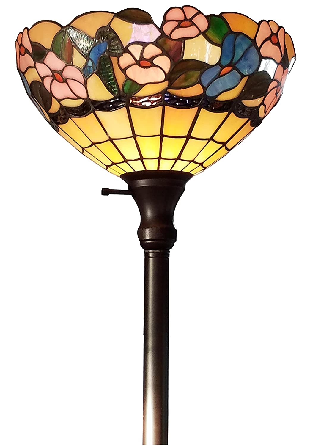 Amora lighting tiffany style am023fl14 hummingbirds floral amora lighting tiffany style am023fl14 hummingbirds floral torchiere floor lamp 70 inches tall amazon aloadofball Choice Image