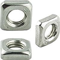 M10 (10 stuks) vierkante moeren, lage vorm - roestvrij staal VA A2 V2A - vierkante moeren roestvrij - DIN 562 | AGBERG