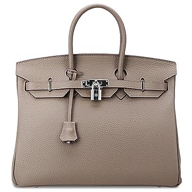 06af69c7f SanMario Designer Handbag Top Handle Padlock Women's Leather Bag with  Silver Hardware Taupe Gray 35cm/