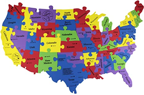 Amazon Com United States Map Puzzle Usa States Map 25 X15 40