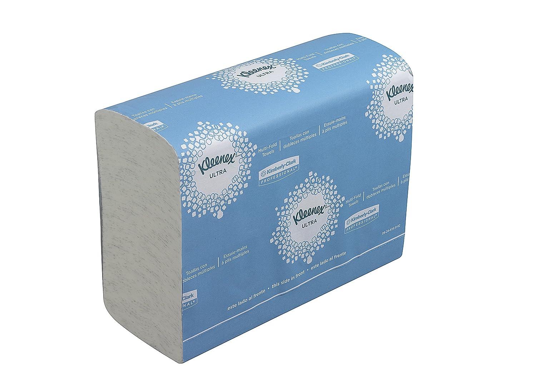 KLEENEX* ULTRA Airflex* Multifold Toallas Secamanos (código 4632), 150 toallas de color blanco y 2 capas, tamaño pequeño, por paquete (la caja contiene 16 ...