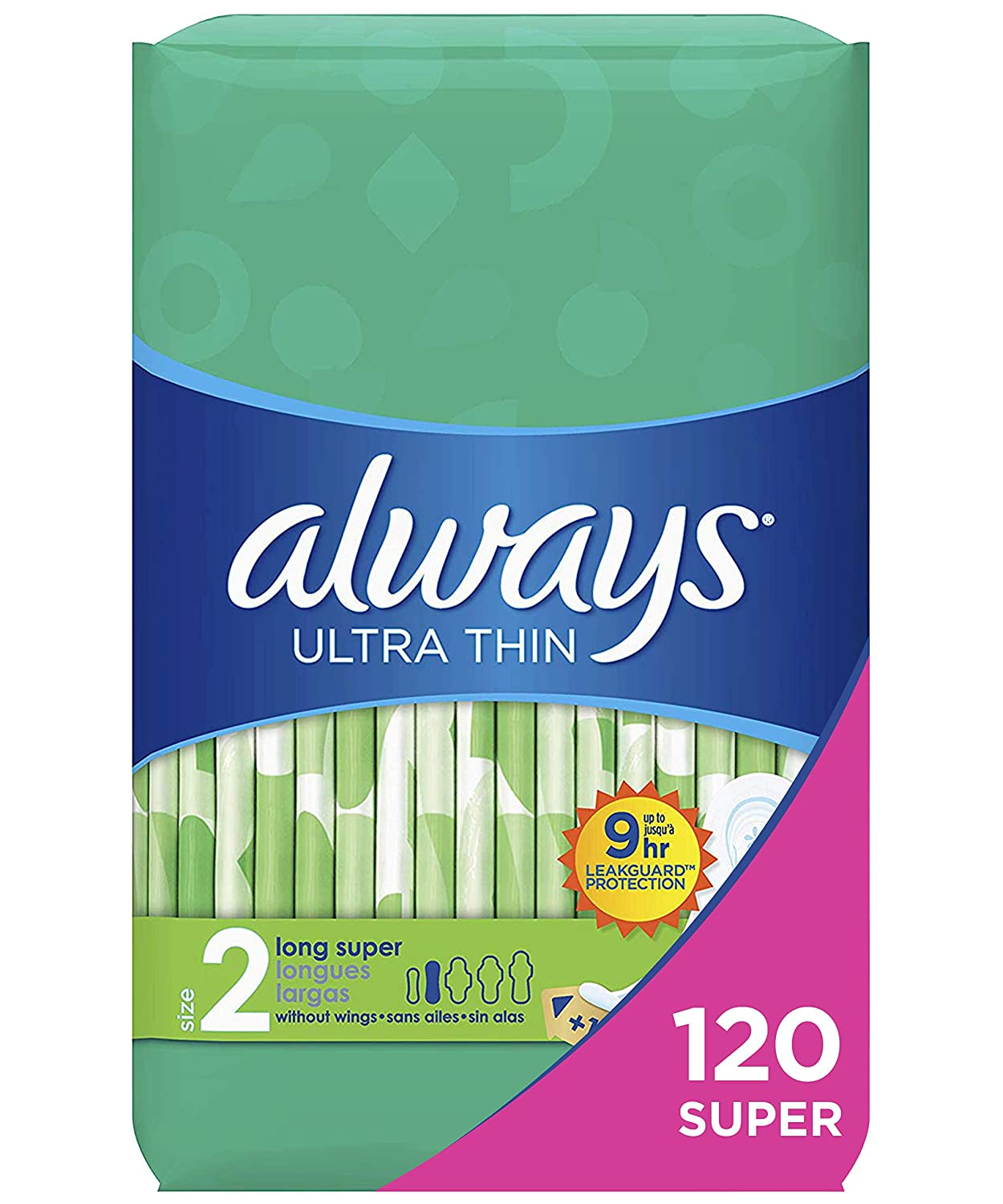Always Ultra Thin Feminine Pads for Women, Size 2, 120 Count, Super Absorbency, Unscented (40 Count, Pack of 3 - 120 Count Total)