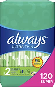 Always Ultra Thin Feminine Pads for Women, Size 2, 120 Count, Super Absorbency, Unscented (40 Count, Pack of 3-120 Count Total)